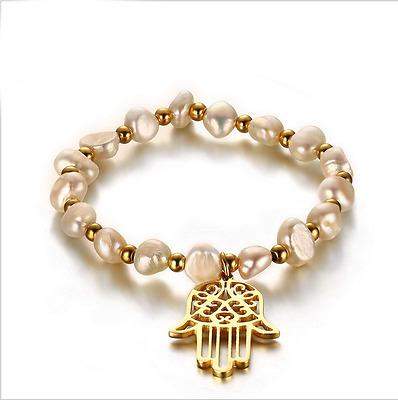 Fashion Jewelry Women's Hamsa Hand Stainless Steel Pearl Chain Bracelet Gift