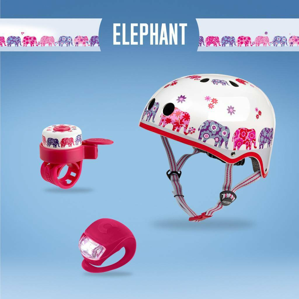 Micro Scotter Safety Set Elephant  Size Medium Helmet, Bell and Light Pink Girls  beautiful
