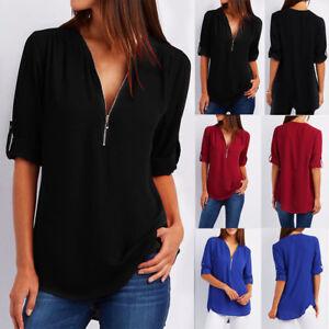 Women-Casual-Zipper-V-Neck-Tops-T-Shirt-Loose-Long-Sleeve-Blouse-Shirt-Pullover
