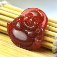 Joli Pendentif Bouddha Rieur En Agate Rouge