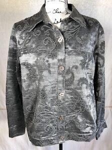 Jacquard Button Creek Medium Up Grå Beaded Sølv Jacket Coldwater Kvinners AwH8XX
