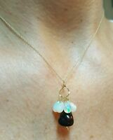 6ct Ethiopian Fire Black And White Opal 14k Gold Necklace Pendant