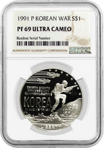 1991 P $1 Korean War Memorial Commemorative Silver Dollar NGC PF69 UC
