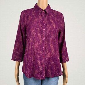 Coldwater Creek Abstract Print Thin Button Up Shirt Top MEDIUM 10 12 Purple