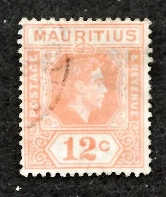 12c Orange Good Used Rich And Magnificent 1938 Rapture Stamps Kgvi Mauritius Sg 257