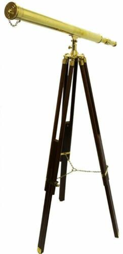 Brass Telescope Floor Standing W// Tripod Stand Antique Vintage Collectible Decor