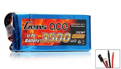 Gens Ace Lipo Battery for Receiver 7.4v 3500mAh 2 Cell