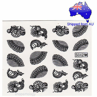 Lace Flowers in White & Black Nail Art Water Transfer Decal