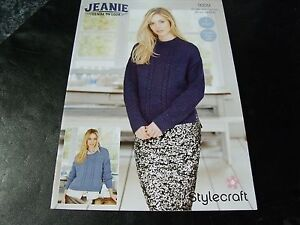 7e5dde926ad4f8 Image is loading Stylecraft-Jeanie-Denim-Look-Jumper-and-Cardigan-Pattern-