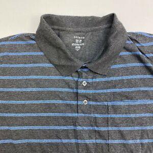 George Golf Polo Shirt Men's 2XL XXL Short Sleeve Gray Blue Striped Cotton Blend
