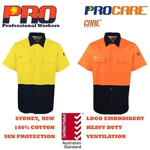 1-pack-Hi-Vis-Work-Shirt-vented-cotton-drill-cutted-short-sleeve-uniform-safety