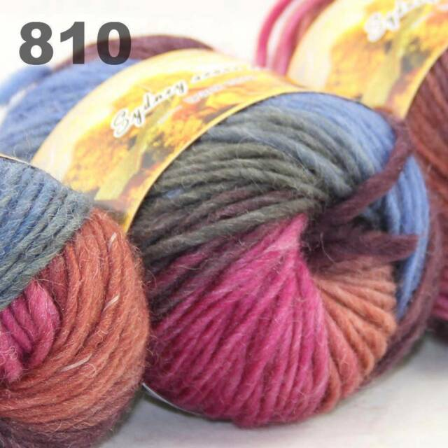 LOT of 3x50gr Skeins NEW Chunky Hand-woven Colors Knitting Scores wool yarn 810