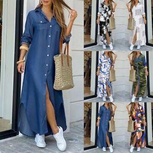 Women Long Sleeve Loose Denim Buttons Shirt Dress Long Maxi Jeans Sundress