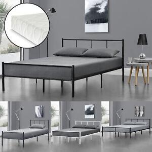Metallbett Matratze Bettgestell Bett Schlafzimmer Metall Schwarz Dunkelgrau Weiß