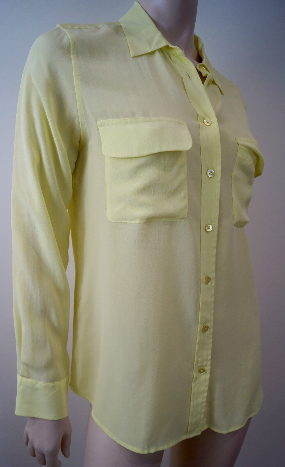 EQUIPMENT FEMME Lime Sherbet Gelb 100% Silk Sheer Evening Blouse M BNWT