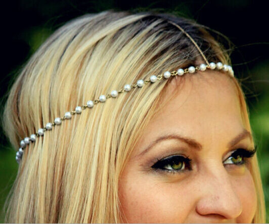 Bohemian Women Metal Pearl Head Chain Jewelry Forehead Headband Piece Hair band
