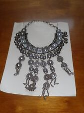 "AMRITA SINGH  ANTIQUE SILVER  ""GREECE 3"" CLEOPATRA HEAVY NECKLACE W/RESIN NWT"