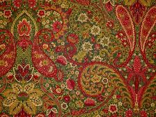 Richloom BOUQUET Green Red Gold PAISLEY Cotton Drapery Home Decor Sewing Fabric