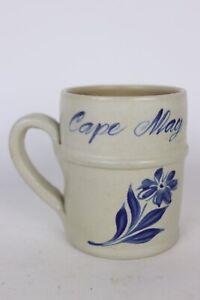 Vtg 1998 Williamsburg Pottery Cape May, NJ Blue Salt Glazed Stoneware Mug Stein