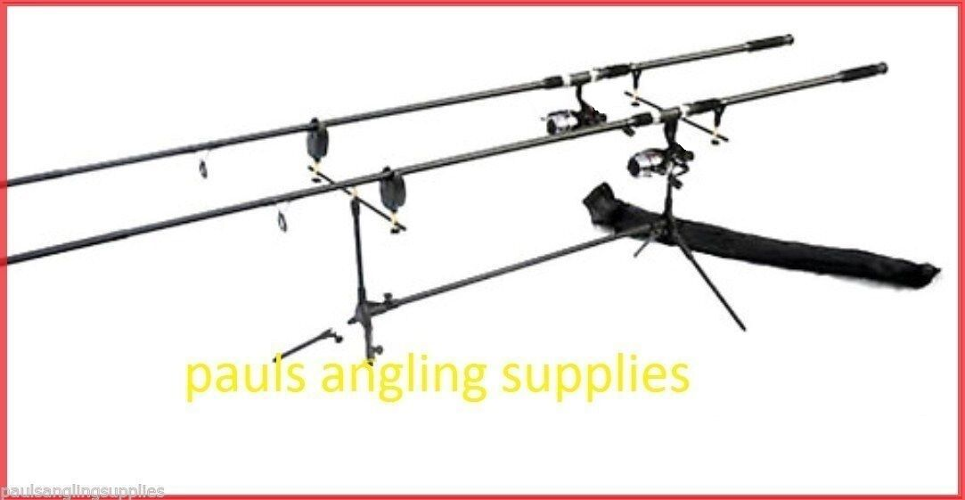 Carp Fishing Mitchell  Set Up   Kit  2 Rods 2 Reels 2 Alarms Rod Pod Batteries