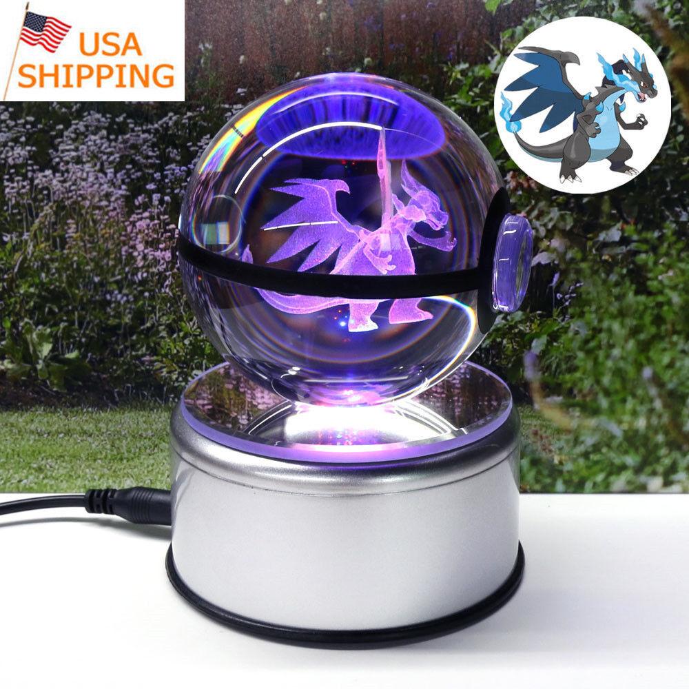 Pokey Mega Charizard 3D Kristalllysrör Nattljusbordslykta Pockeboll 80mm