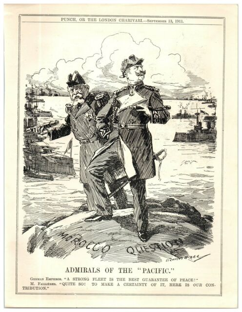 1911 Agadir Second Morocco Crisis German French Naval Ships Punch Cartoon 19p Ebay