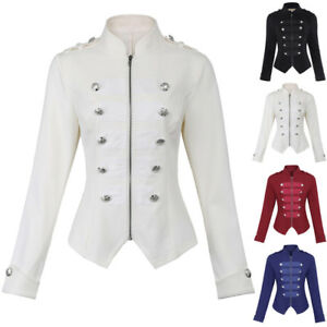 72185460ccd Image is loading Women-Jacket-Zipper-Blazer-Button-Long-Steampunk-Decorated-
