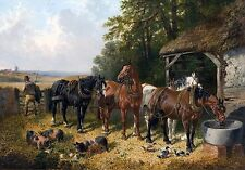 """John F. Herring, Clydesdale Horses, Pigs, chickens, Farm, antique decor, 14""""x10"""""""