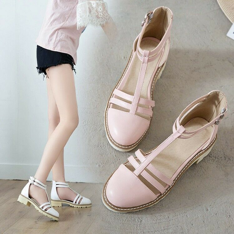 UK Girl's Ladies Block Heels Ankle Strap Pumps T-Bar Spring Casual shoes Size