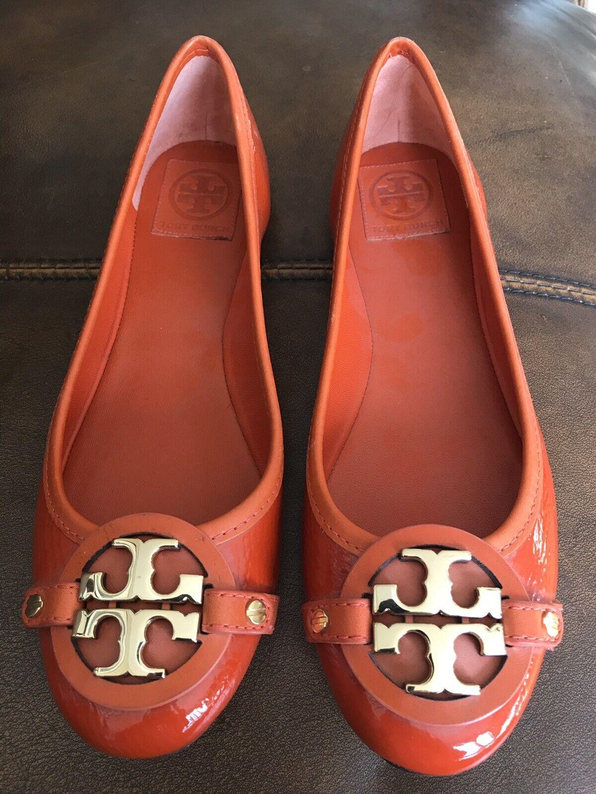 TORY BURCH Flats Ballet shoes gold orange 8.5 Women's NWT