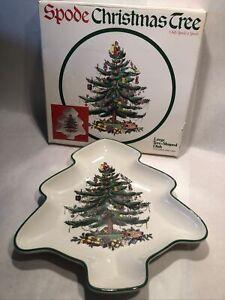 """Spode Christmas Tree S3324 Tree Shaped 9"""" Candy Nut Dish Tree/Toys EUC"""