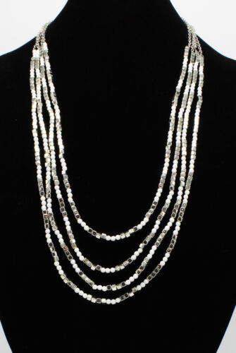 Classy New Multi Strand Necklace with White /& Silver Beads nwt #N2626