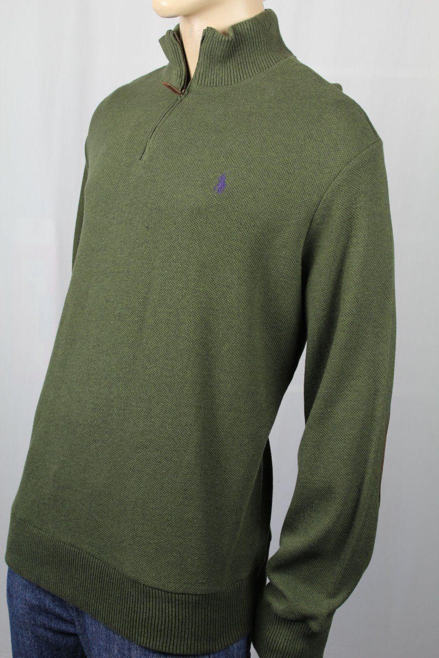 Polo Ralph Lauren Grün 1/2 Half Zip Pima Sweater Suede Elbow NWT 165