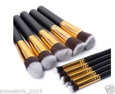 10 Piece Kabuki Makeup Brush Set with Black Leather Case