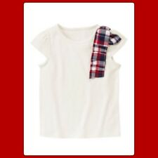 NWT 7 Gymboree HOMECOMING KITTY SHIRT TOP Off White Cotton Red Blue Plaid RARE!