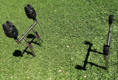 """NEW 2 Rod stainless goal post 8/"""" Buzz Bars Alarms 4x 8/"""" Banksticks Rests"""