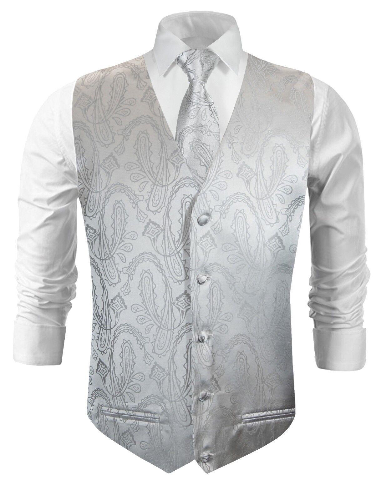 Paul Malone Hochzeitsweste mit Krawatte silber paisley v3