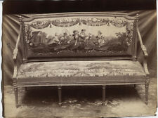 ANTIQUE UNMOUNTED ALBUMEN LOUIS XV FURNITURE WITH TAPESTRY UPHOLSTERY.