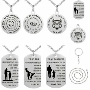 Engraved-Stainless-Steel-Dog-tag-Pendant-Necklace-Keychain-Mom-Dad-Birthday-Gift