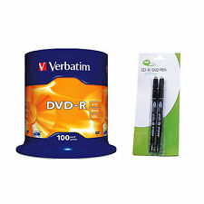 100 Verbatim DVD-R 4.7 GB (16x) Spindle + 2 Black Neo Twin Tipped CD Marker Pen
