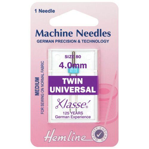 Hemline Twin Size Universal Sewing Machine Needles 80//12 4mm