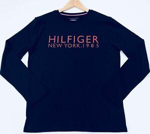 Tommy-Hilfiger-Uomo-a-maniche-lunghe-T-Shirt-con-stampa-New-York-in-color-navy-taglia-M
