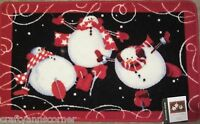 Bath Rug Mat Blonder Home Roly Poly Snowman Ice Skating Snowmen Christmas