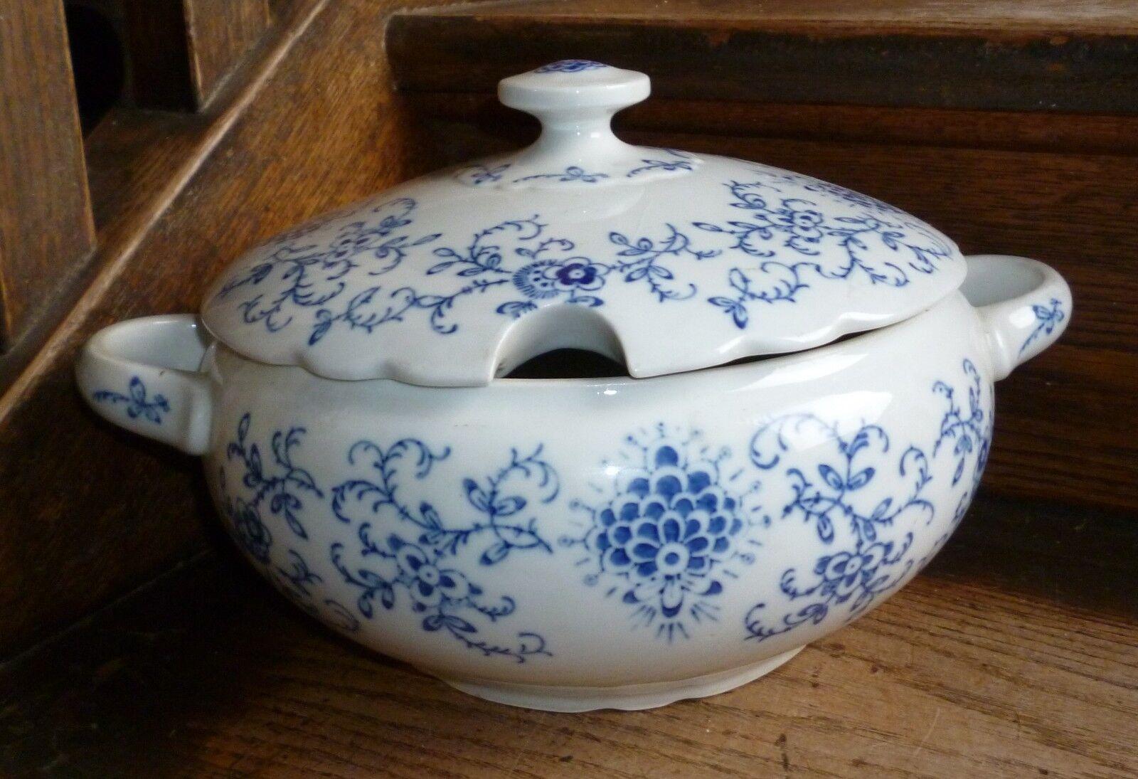 13) KALK Eisenberg StrohBlaume indischblau schöne große SUPPENTERRINE ca. 3 Liter