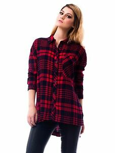 8e36fc111 Women's Red and Black Oversized Long Sleeve Flannels Sleeve Plaid ...