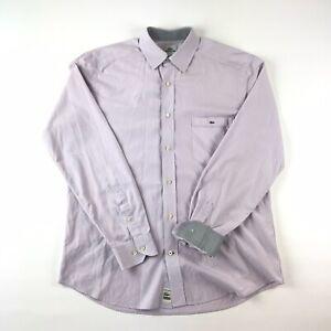 LACOSTE-Mens-Purple-Button-Up-Long-Sleeve-Shirt-Modern-Fit-Flip-Cuff-Size-42