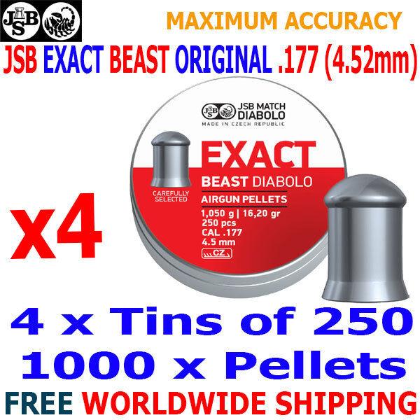 JSB EXACT BEAST ORIGINAL .177 4.52mm Airgun Pellets 4(tins)x250pcs FAC POWER