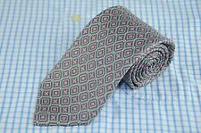 Robert Talbott Men's Tie Gray Pink & Blue Geometric Printed Silk Necktie
