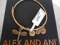 Authentic Alex And Ani Dragonfly Russian Gold Charm Bangle W/ Tag & Box