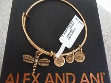Authentic Alex and Ani DRAGONFLY Russian Gold Charm Bangle New W/ Tag & Box